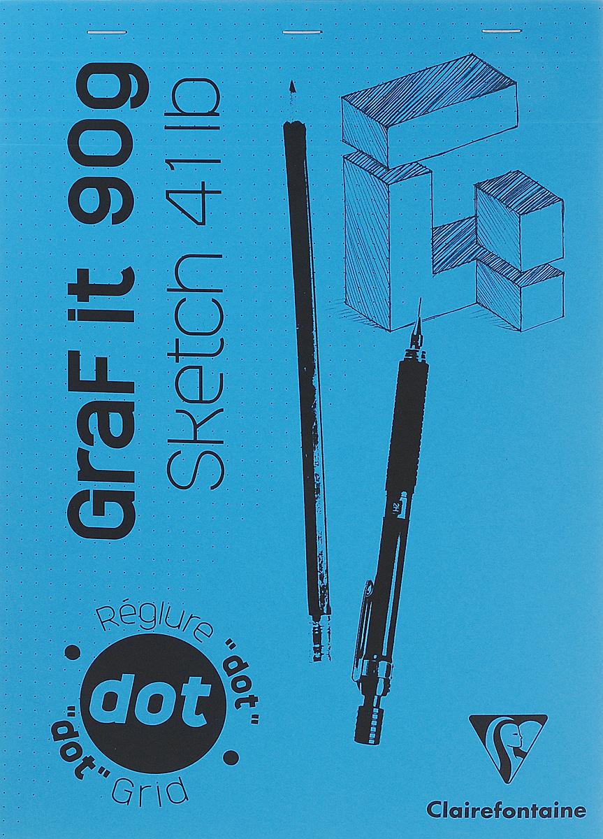 Блокнот Clairefontaine Graf It. Dot Grid, для сухих техник, с перфорацией, цвет: голубой, формат A4, 80 листов96653С_голубойБлокнот Clairefontaine Graf It. Dot Grid, для сухих техник, с перфорацией, цвет: голубой, формат A4, 80 листов