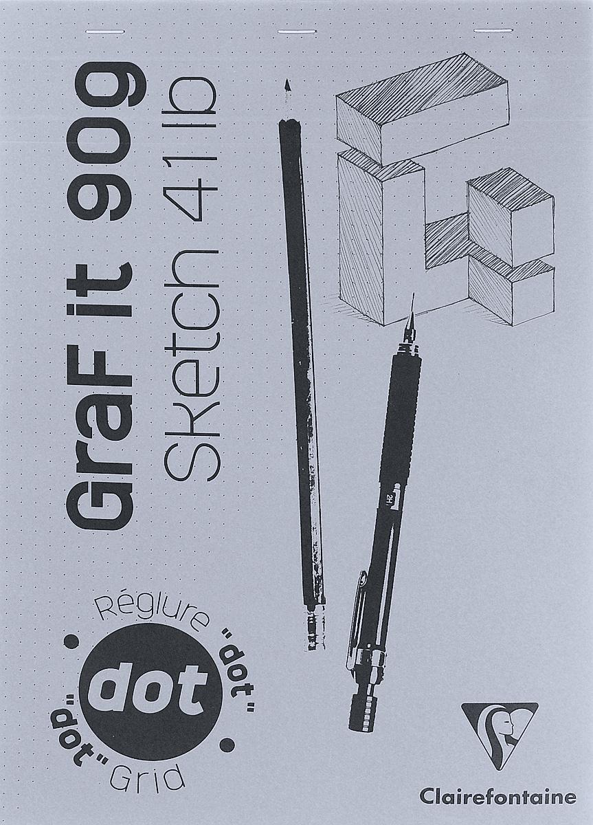 Блокнот Clairefontaine Graf It. Dot Grid, для сухих техник, с перфорацией, цвет: серый, формат A4, 80 листов7822Блокнот Clairefontaine Graf It. Dot Grid, для сухих техник, с перфорацией, цвет: серый, формат A4, 80 листов