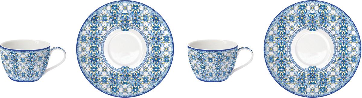 Сервиз кофейный Easy Life Майолика, цвет: голубой, 110 мл, 4 предметаEL-R0921/MAIBКофейный сервиз Easy Life изготовлен из высококачественного фарфора. В комплекте 2 чашки и 2 блюдца. Кофейный сервиз Easy Life прекрасно подойдет для вашей кухни и великолепно украсит стол. Изящный дизайн и красочность оформления кружки и блюдца придутся по вкусу и ценителямклассики, и тем, кто предпочитает утонченность и изысканность.Объем чашки: 110 мл.