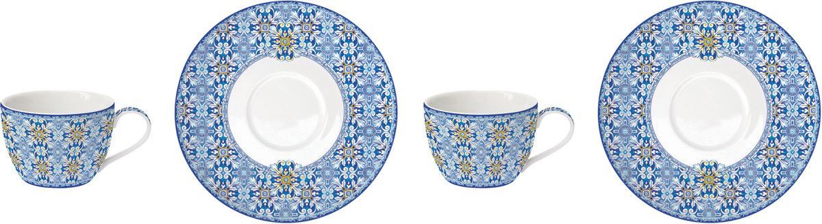 Набор чайный Easy Life Майолика, цвет: голубой, 240 мл, 4 предметаEL-R0922/MAIBЧайный набор Easy Life состоит из 2 чашек и 2 блюдец. Изделия выполнены выполнены из фарфора.Оригинальный дизайн, несомненно, придется вам по вкусу. Чайный набор Easy Life украсит ваш кухонный стол, а также станетзамечательным подарком к любому празднику. Объем чашки: 240 мл.