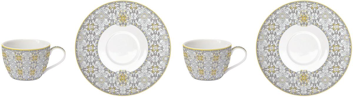 Набор чайный Easy Life Майолика, цвет: серый, 240 мл, 4 предметаEL-R0922/MAIGЧайный набор Easy Life состоит из 2 чашек и 2 блюдец. Изделия выполнены выполнены из фарфора.Оригинальный дизайн, несомненно, придется вам по вкусу. Чайный набор Easy Life украсит ваш кухонный стол, а также станетзамечательным подарком к любому празднику. Объем чашки: 240 мл.
