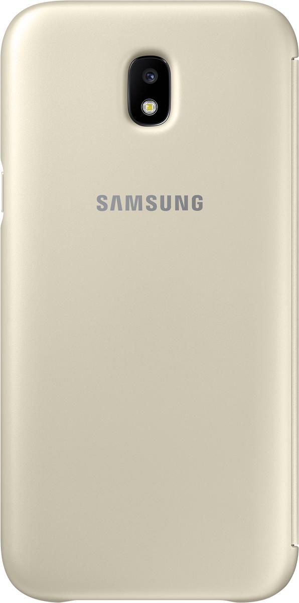 Samsung Wallet Cover чехол для Galaxy J5 (2017), GoldSAM-EF-WJ530CFEGRUЧехол-книжка защищает корпус устройства отвнешних повреждений. Высококачественные материалы обеспечат долгий срок службы как чехла так исмартфона. Эргономичный дизайн сделает использование гаджета еще более удобным, атонкие формы неувеличат размеры устройства.