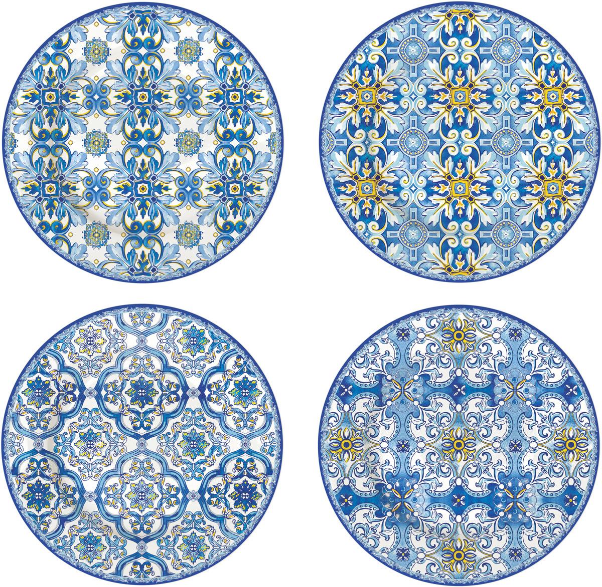 Набор десертных тарелок Easy Life Майолика, цвет: голубой, 4 штEL-R0924/MAIBИтальянская компания Easy Life (Nuova R2S) - является лидером производства кухонной посуды и аксессуаров для дома в Италии. Центральный офис компании находится в Италии, производство расположено в Италии и Китае. Концепция выпускаемой продукции заключается в создании единой дизайнерской линии предметов сервировки стола, оформления интерьера кухни или столовой комнаты. Вся продукция производится из современных и экологически чистых материалов: фарфора, стекла, пластика и дерева. Продукция компании Easy Life (Nuova R2S) отличается современным дизайном, и легкостью в эксплуатации. Компания работает в тесном сотрудничестве с лучшими итальянскими художниками и дизайнерами. Важным преимуществом этой фабрики, является оригинальная подарочная упаковка. Продукция компании Easy Life (Nuova R2S) не только современный подарок и украшение для Вашего дома, но и всегда неисчерпаемое количество идей на Вашей кухне.