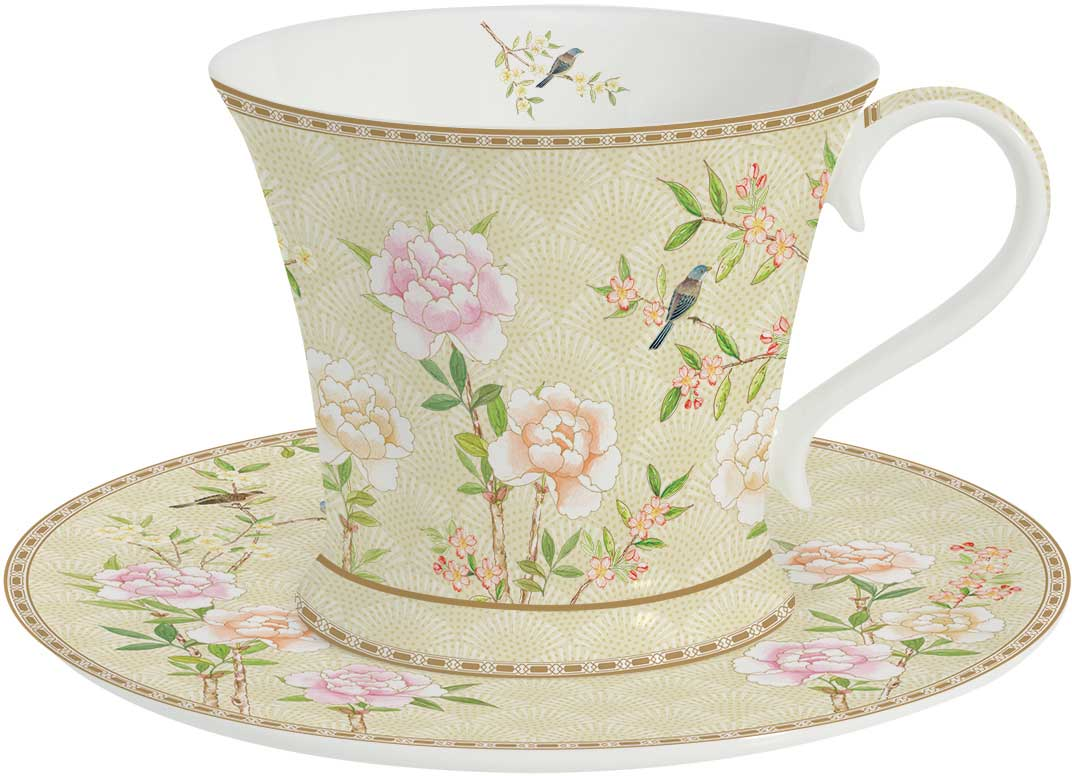 Чайная пара Easy Life Дворцовый парк, цвет: бежевый, 2 предмета чайная пара фарфор вербилок капля полдня 2 предмета 1259593