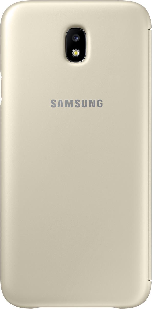 Samsung Wallet Cover чехол для Galaxy J7 (2017), GoldSAM-EF-WJ730CFEGRUЧехол-книжка защищает корпус устройства отвнешних повреждений. Высококачественные материалы обеспечат долгий срок службы как чехла так исмартфона. Эргономичный дизайн сделает использование гаджета еще более удобным, атонкие формы неувеличат размеры устройства.