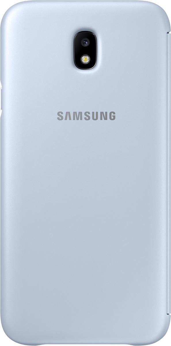Samsung Wallet Cover чехол для Galaxy J7 (2017), Light BlueSAM-EF-WJ730CLEGRUЧехол-книжка защищает корпус устройства отвнешних повреждений. Высококачественные материалы обеспечат долгий срок службы как чехла так исмартфона. Эргономичный дизайн сделает использование гаджета еще более удобным, атонкие формы неувеличат размеры устройства.