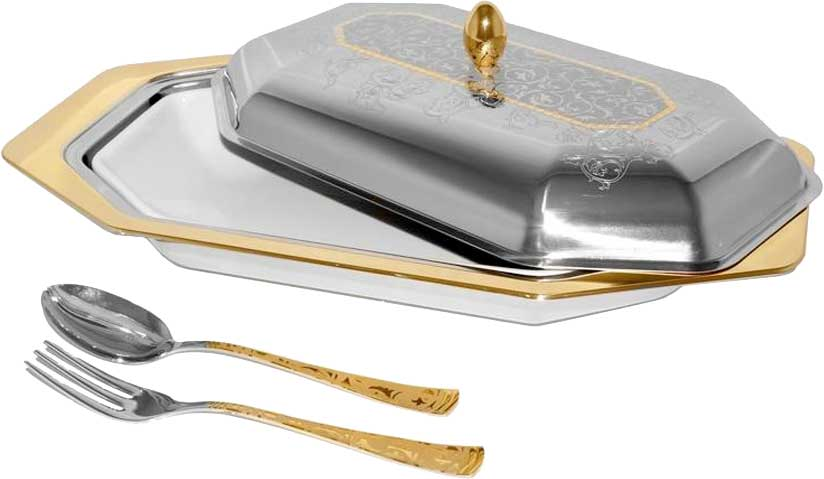 Набор для горячего Giorinox Dubai Gold/Silver: крышка, блюдо, вилка, ложка. GI3481-00/PAL giorinox