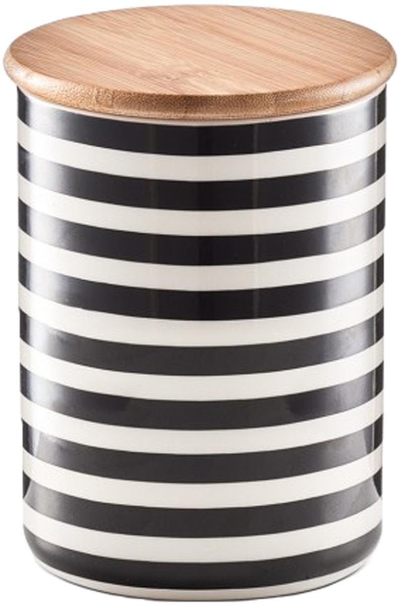 Банка для хранения сыпучих продуктов Zeller, цвет: черный, белый, диаметр 10 см19823Банка для хранения продуктов Zeller изготовлена из высококачественной керамики и дополненакрышкой из бамбука. Изделие оформлено рисунком в черно-белую полоску. Банка прекрасноподойдет для хранения различных сыпучих продуктов: чая, кофе, сахара, соли. Изящная емкостьне только поможет хранить разнообразные сыпучие продукты, но и стильно дополнит интерьеркухни.