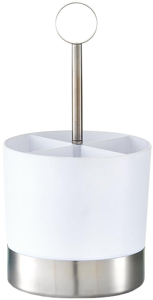 Держатель для столовых приборов Zeller, цвет: белый, 14 х 25 см24874Подставка для столовых приборов Zeller изготовлена из высококачественного пластика белого цвета с металлическим дном. Изделие имеет три отделения для разных видов столовых приборов.Такая подставка станет полезным приобретением для вашей кухни.
