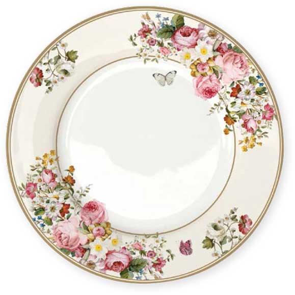 Тарелка обеденная Nuova R2S Цветочный карнавал, цвет: белый, диаметр 26,5 см. R2S1359/BLOC-AL