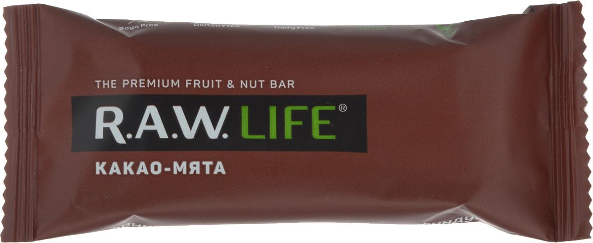 RAWLife Какао-мята батончик орехово-фруктовый, 47 г pikki мюсли кокос кешью шоколад батончик орехово фруктовый 50 г
