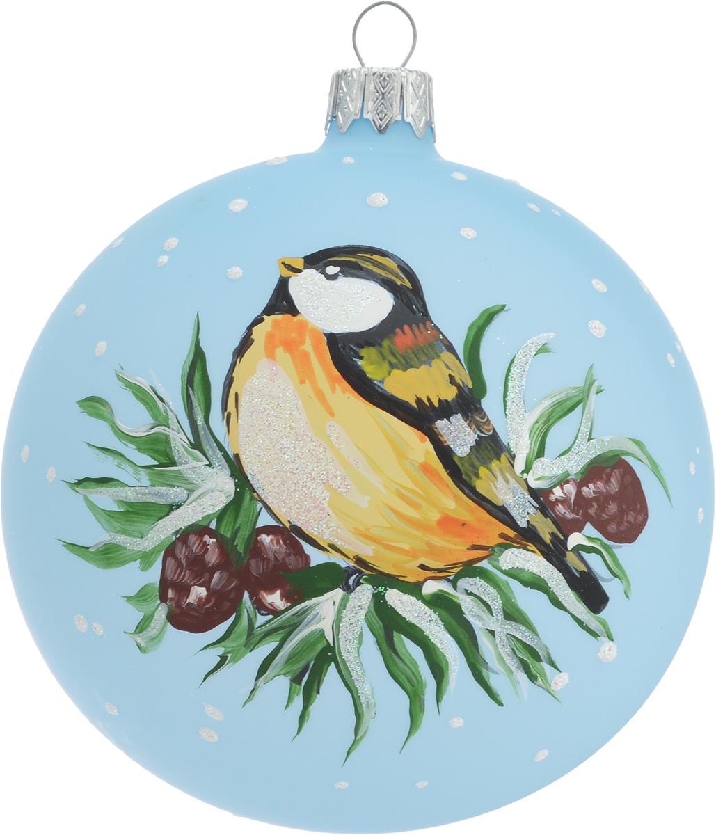 Украшение новогоднее подвесное Воробей, ручная работа, диаметр 10 смH-100-N-Серия Птицы- воробей
