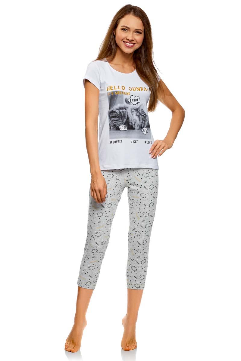 Пижама женская oodji Ultra, цвет: белый, серый. 56002209-2/47963/1023P. Размер L (48) пижама женская mia cara футболка бриджи цвет сиреневый aw15 uat lst 656 размер 46 48
