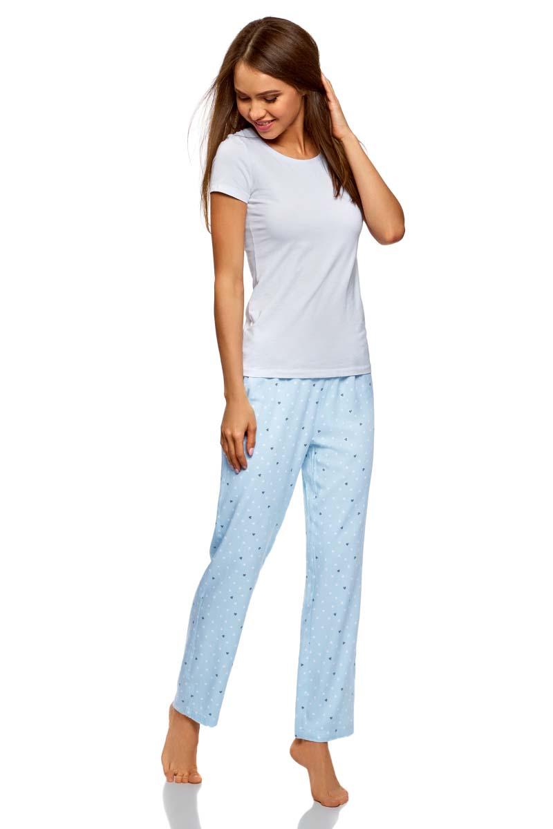 Купить Брюки для дома женские oodji Ultra, цвет: голубой, серый. 59807040/46275/7023G. Размер XS (42)