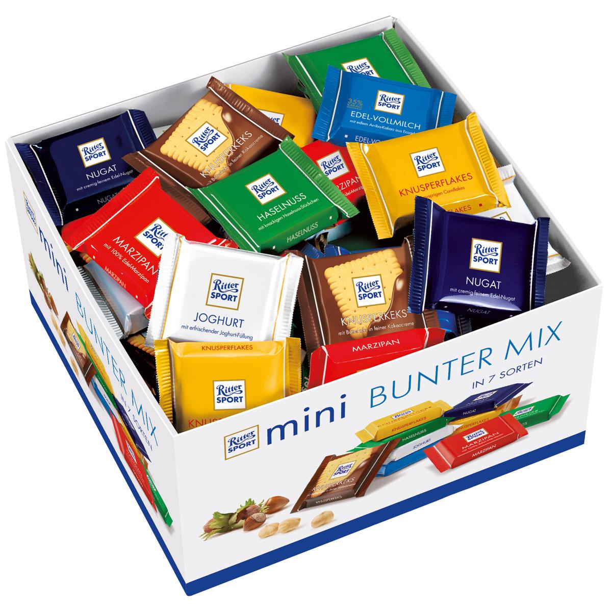 Ritter Sport Яркая Коллекция набор мини-шоколада 7 вкусов, 1400 г prestige печенье с пралине 134 г