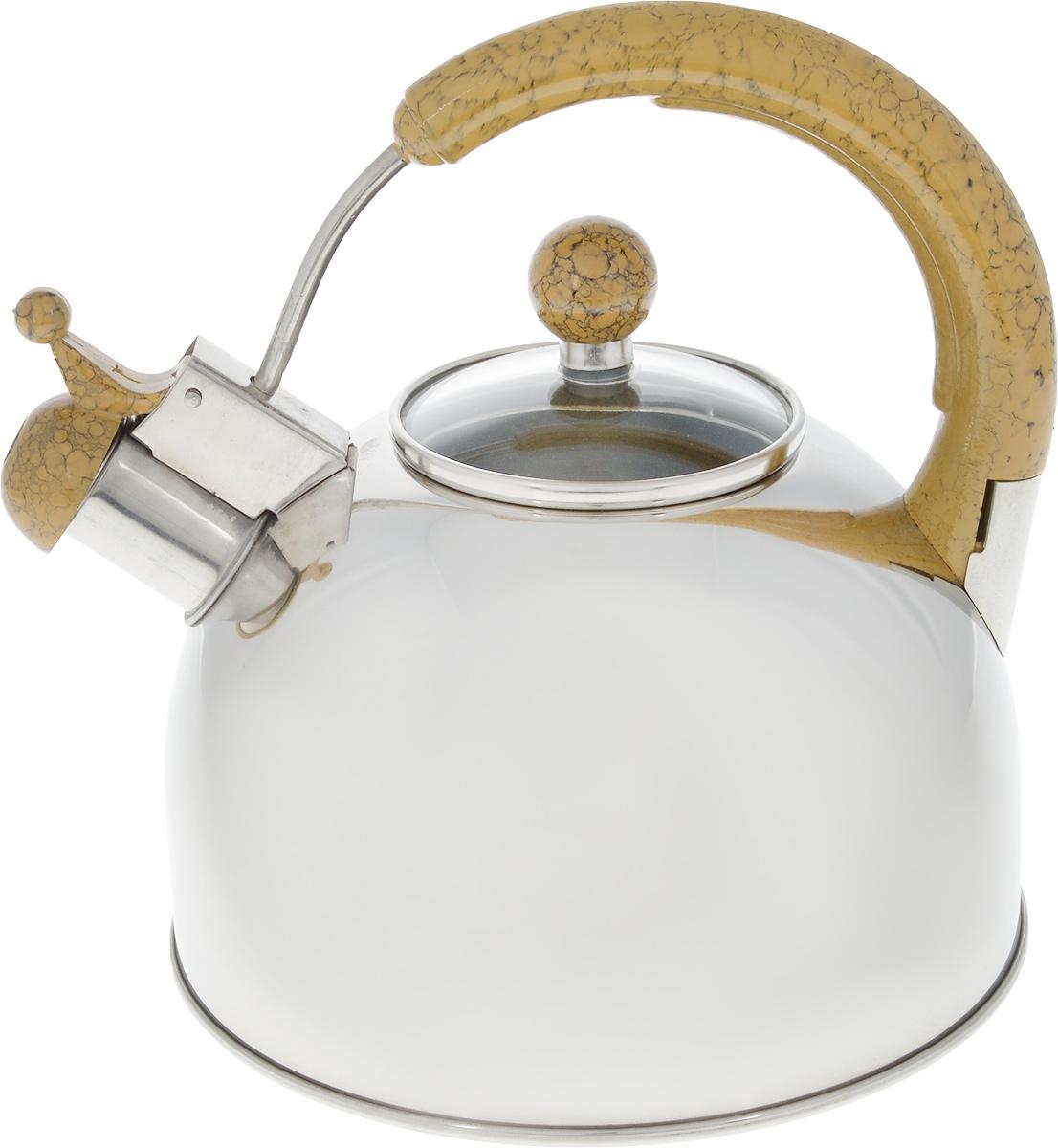 Чайник Bekker Koch со свистком, цвет: металлик, бежевый, 4,5 л контейнер пищевой вакуумный bekker koch прямоугольный 1 1 л