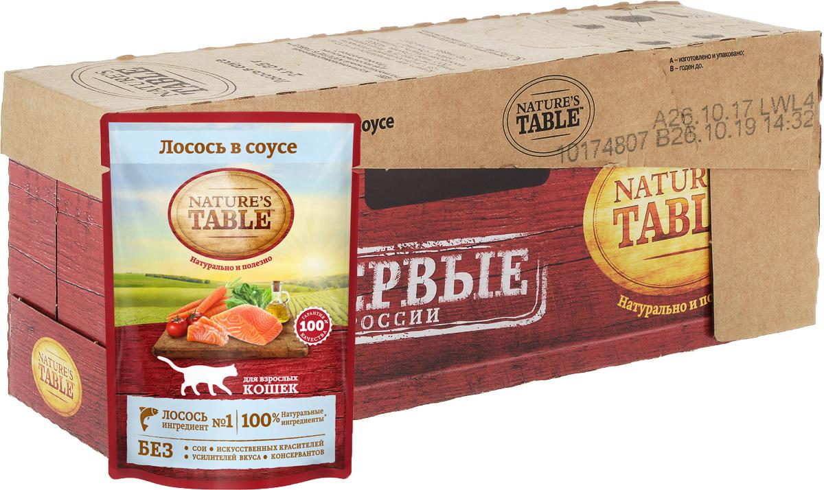 Консервы для кошек Natures Table Лосось в соусе, 85 г х 24 шт80945Рацион Natures Table Лосось в соусе содержит на 100% натуральные ингредиенты самого высокого качества:Ингредиент № 1 - лосось - богатый источник белка и жирных кислот омега-3, является основой здорового рациона кошки;- Подсолнечное масло и рыбий жир - источники омега-3 и омега-6 кислот, витаминов А, D, E для естественногоздоровья кожи и блестящей шерсти;- Натуральные овощи и злаки - источник углеводов и клетчатки, витаминов и минералов для здоровогопищеварения, улучшения микрофлоры кишечника. Natures Table - вся польза природы для вашей кошки, чтобы она радовала вас здоровьем и красотой день за днем!Состав:лосось, говядина, курица, масла и жиры, злаки, витамины и минеральные вещества, овощи (сухая мякоть сахарнойсвеклы, морковь, томаты, шпинат).Наличие нескольких видов протеинов (лосось, говядина, курица) обеспечивает сбалансированную формулурациона.Не содержит сои, искусственных красителей, усилителей вкуса и консервантов. ЗОЖ для кошек и собак: натуральное питание – статья на OZON Гид.