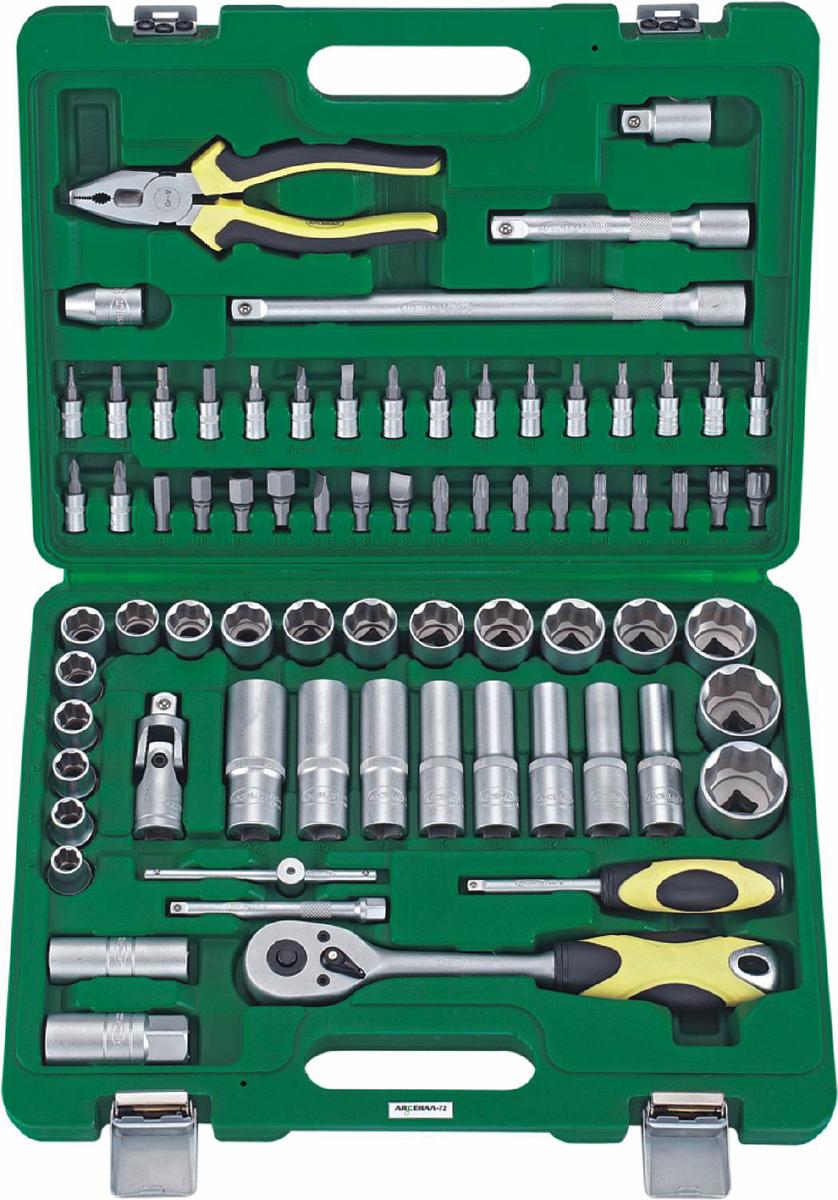 Набор инструментов Арсенал AA-C1412L72, 72 предмета1920820Набор инструментов ARSENAL AA-C1412L72 состоит из 72 предметов. Он изготовлен из качественной хром-ванадиевой стали и предназначен дляремонта легкового автотранспорта. Комплектация набора оптимальна и отлично подходит для гаража любого автолюбителя. Инструментыупакованы в удобный пластиковый кейс. Комплектация:Привод 1/4:- Вороток Т-образный 115 мм- Удлинитель 100 мм-Отвертка с присоединительным квадратом- Биты со вставками, 18 штук: - Биты HEX, 4 штуки: 3, 4, 5, 6 мм - Биты шлицевые, 3 штуки:4, 5.5, 6.5 мм - Биты PHILLIPS, 2 штуки: PH.1, PH2 - Биты POZIDRIV, 2 штуки: PZ.1, PZ.2 - Биты TORX, 8 штук: T8, Т10, Т15, Т20, Т25,Т27, Т30Привод 1/2:- Головки, 18 штук: 10, 11, 12, 13, 14, 15, 16, 17, 18, 19, 20, 21, 22, 23, 24, 27, 30, 32 мм- Головки удлиненные, 8штук: 10, 11, 12, 13, 14, 17, 19, 22 мм- Свечные головки 16 и 21 мм- Трещотка 45- Удлинители 125 и 250 мм- Скользящийпереходник- Кардан шарнирный- Адаптер для бит 5/16Прочее:- Биты 5/16, 16 штук: - Биты HEX, 4 штуки: 8, 10, 12, 14 мм -Биты шлицевые, 3 штуки: 8, 10, 12 мм - Биты PHILLIPS, 2 штуки: PH.3, PH.4 - Биты POZIDRIV, 2 штуки: PZ.3, PZ.4 - Биты TORX, 6 штук:Т40, Т45, Т50, Т55, Т60- Пассатижи 150 мм (6).