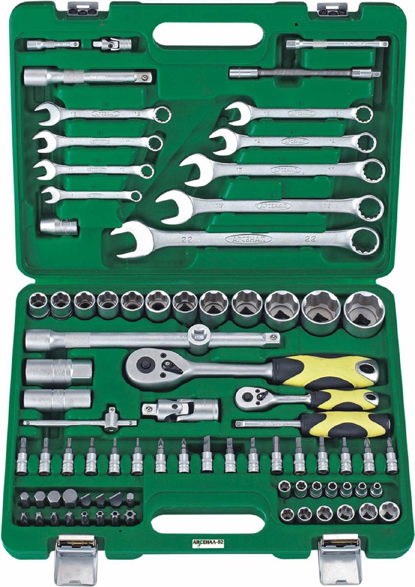 Набор инструментов Арсенал AA-C1412L82, 82 предмета1920830Набор инструментов Арсенал AA-C1412L82 состоит из 82 предметов, изготовлен из качественной хром-ванадиевой стали и предназначен дляремонта легкового автотранспорта. Комплектация набора оптимальна и отлично подходит для гаража любого автолюбителя. Инструментыупакованы в удобный пластиковый кейс. Комплектация:Привод 1/4:- Головки, 13 штук: 4, 4.5, 5, 5.5, 6, 7, 8, 9, 10, 11, 12, 13, 14 мм-Трещотка 45- Удлинители, 2 штуки: 50, 100 мм- Вороток Т-образный 115 мм- Гибкий удлинитель 150 мм- Кардан шарнирный-Отвертка с присоединительным квадратом- Биты со вставками: - Биты TORX, 6 штук: Т8, T10, T15, T20, T25, T30 - Биты PHILLIPS, 2штуки: PH.1, PH.2 - Биты POZIDRIV, 2 штуки: PZ.1, PZ.2 - Биты шлицевые, 3 штуки: 4, 5.5, 7 мм - Биты HEX, 4 штуки: 3, 4, 5, 6 мм Привод 1/2:- Головки, 12 штук: 13, 14, 15, 16, 17, 18, 19, 22, 24, 27, 30, 32 мм- Свечные головки, 2 штуки: 16, 21 мм- Трещотка 45-Удлинители, 2 штуки: 125, 250 мм- Скользящий переходник- Кардан шарнирный- Адаптер для бит на 5/16Прочее:- Биты 5/16: - Биты TORX, 4 штуки: Т40, T45, T50, T55- Биты PHILLIPS, 2 штуки: PH.3, PH.4- Биты POZIDRIV, 2 штуки: PZ.3, PZ.4- Биты шлицевые,3 штуки: 8, 10, 12 мм- Биты HEX, 4 штуки: 8, 10, 12, 14 мм- Ключи комбинированные, 9 штук: 8, 10, 11, 12, 13, 14, 17, 19, 22 мм-Переходник для электроинструмента.