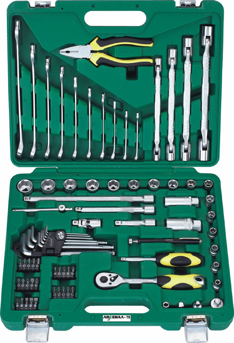 Набор инструментов Арсенал AA-C38UL79, 79 предметов набор торцевых головок jonnesway 3 8dr 6 22 мм и комбинированных ключей 7 17 мм 36 предметов