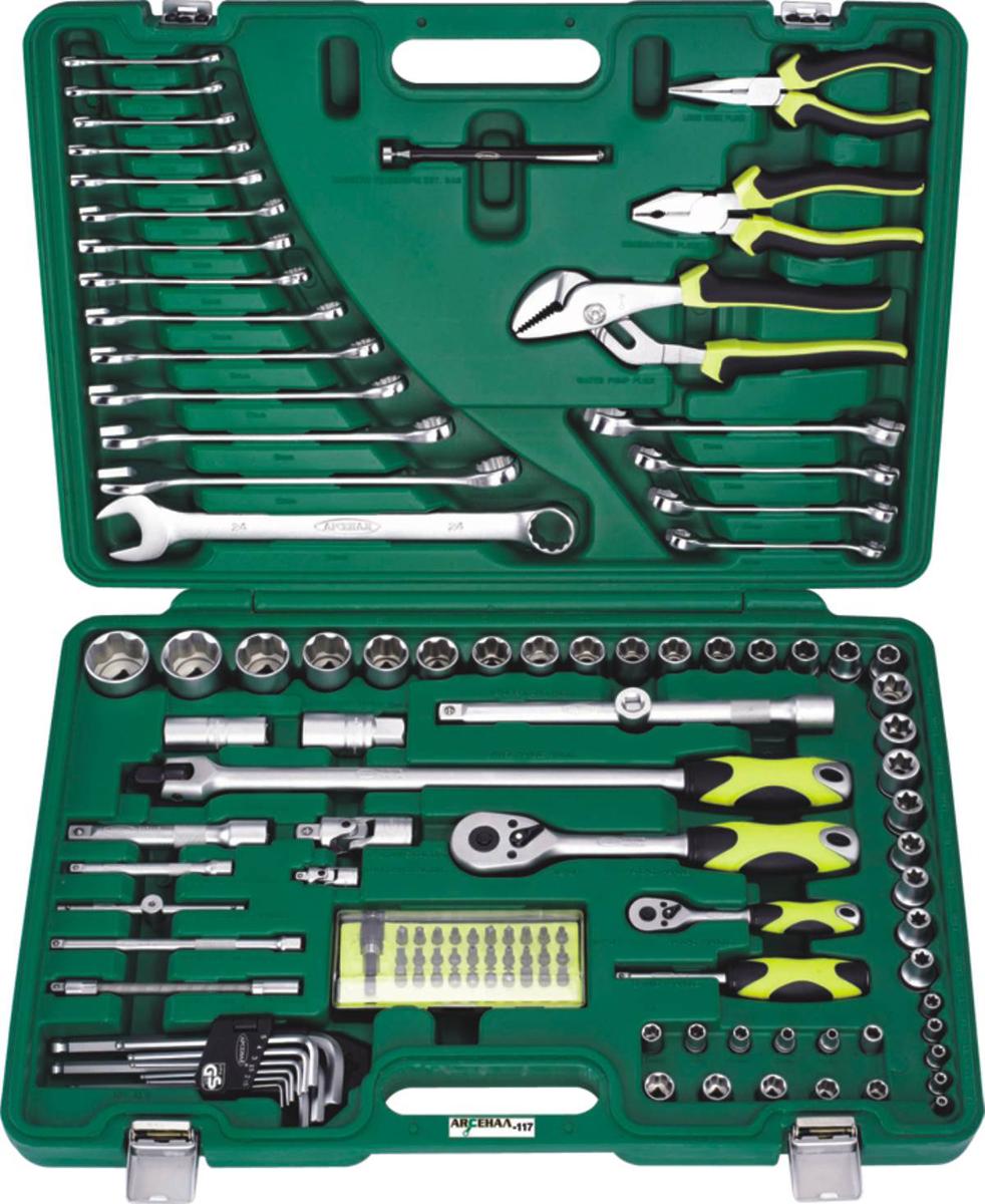 Набор инструментов Арсенал AA-C1412P117, 117 предметов2203830Набор инструментов ARSENAL AA-C1412P117 состоит из 117 предметов, изготовлен из качественной хром-ванадиевой стали и предназначен для профессионального ремонта автомобилей. Комплектация набора подходит прежде всего для специалистов автосервисов. Инструменты упакованы в удобный пластиковый кейс. Данный набор является аналогом более не выпускающегося набора инструмента ARSENAL НУ-1412/117.Комплектация:Привод 1/4:- Торцевые головки, 10 штук: 4, 5, 6, 7, 8, 9, 10, 11, 12, 13 мм- Головки Е-стандарта, 5 штук: Е4, Е5, Е6, Е7, Е8- Трещотка 45- Удлинители, 2 штуки: 100, 150 мм- Гибкий удлинитель 150 мм- Вороток Т-образный 115 мм- Кардан шарнирный- Отвертка с присоединительным квадратом- Адаптер для бит- Набор бит с битодержателем, 31 штука: - Биты TORX, 6 штук: T10, T15, T20, T25, T27, T30 - Биты шлицевые, 7 штук: 3, 4, 4.5, 5, 5.5, 6, 7 мм - Биты HEX, 7 штук: 1.5, 2, 2.5, 3, 4, 5, 6 мм - Биты PHILLIPS, 5 штук: PH.0, PH.1, PH.2, PH.3, PH.4 - Биты POZIDRIV, 5 штук: PZ.0, PZ.1, PZ.2, PZ.3, PZ.4-Магнитный битодержательПривод 1/2:- Торцевые головки, 16 штук: 10, 11, 12, 13, 14, 15, 16, 17, 18, 19, 20, 22, 24, 27, 30, 32 мм- Головки Е-стандарта, 8 штук: E10, E11, Е12, Е14, Е16, Е18, Е20, Е22 мм- Свечные головки, 2 штуки: 16, 21 мм- Вороток шарнирный 430 мм- Трещотка 45- Удлинители, 2 штуки: 125, 250 мм- Кардан шарнирный- Скользящий переходникПрочее:- Ключи комбинированные, 14 штук: 6, 7, 8, 9, 10, 11, 12, 13, 14, 15, 17, 19, 22, 24 мм- Клещи переставные (гебельсы) 240 мм (9,5)- Пассатижи 175 мм (7)- Длинногубцы 150 мм (6)- Магнитная телескопическая ручка- Набор шестигранников, 9 штук: 1.5, 2, 2.5, 3, 4, 5, 6, 8, 10 мм- Шестигранные накидные гаечные ключи, 4 штуки: 8х10, 11х13, 12х14, 17х19 мм