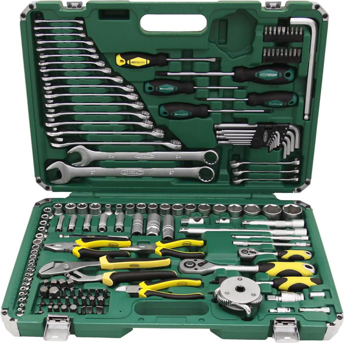 Набор инструментов Арсенал, общефункциональный, 148 предметов8086330Набор инструмента ARSENAL TSM148AABP-WTG включает в себя общефункциональные инструменты и инструменты для арматурных работ, используется для ремонта российских автомобилей и содержит 144 предмета. Инструменты Арсенал предназначены для профессионального ремонта в автомастерских.Комплектация:Привод 1/4- Шестигранные головки, 10 штук: 4, 4.5, 5, 5.5, 6, 7, 8, 9, 10, 13 мм- Е-головки Torx (звезды), 5 штук: Е4, Е5, Е6, Е7, Е8- Удлиненные шестигранные головки, 5 штук: 8, 10, 11, 12, 13 мм- Удлинители: 50, 150 мм- Гибкий удлинитель 150 мм- Отвертка с присоединительным квадратом- Шаровой шарнир- Трещотка с быстрым сбросом, 72 зуба- Скользящий переходник 1/4(М)х3/8(F)- Биты: - Шлицевые биты, 5 штук: 3, 4, 5, 6, 7 мм - Биты Phillips, 5 штук: PH.0, PH.1, PH.2, PH.3, PH.4 - Биты Pozidriv, 4 штуки: PZ.1, PZ.2, PZ.3, PZ.4 - Биты Torx, 4 штуки: Т10, Т15, Т20, Т25- Адаптер для бит 1/4 на 1/4Привод 1/2- Шестигранные головки, 14 штук: 8, 10, 14, 15, 16, 17, 18, 19, 21, 22, 24, 27, 30, 32 мм- Е-головки Torx (звезды), 8 штук: Е10, Е11, Е12, Е14, Е16, Е18, Е20, Е22- Удлиненная двенадцатигранная головка 17 мм- Магнитные свечные головки: 16 и 21 мм- Удлинители: 125 и 250 мм- Скользящий переходник 1/2(М)х3/8(F)- Шаровой шарнир- Трещотка с быстрым сбросом, 72 зубаПрочее:- Биты 5/16: - Шлицевые биты, 3 штуки: 8, 10, 12 мм - Биты Phillips, 3 штуки: PH.1, PH.2, PH.4 - Биты Pozidriv, 3 штуки: PZ.2, PZ.3, PZ.4 - Шестигранные биты Hex, 2 штуки: 14, 17 мм - Биты Torx (звезды), 9 штук: Т8, Т10, Т27, Т30, Т40, Т45, Т50, Т55, Т60 - Биты Spline, 4 штуки: М8, М10, М12, М14 - Четырехгранные биты, 4 штуки: 8, 9, 10, 11 мм- Адаптер для бит 5/16 на 1/2- Комбинированные ключи, 17 штук: 6, 7, 8, 9, 10, 11, 12, 13, 14, 15, 16, 17, 18, 19, 21, 22, 24, 27 мм- Разрезные шестигранные гаечные ключи, 3 штуки: 8х10, 9х11, 10х12 мм- Ключ для масляных фильтров краб 65-120 мм- Отвертки: - Шлицевая 5,5х100 мм - Крестовая Phillips: 3х150 мм - Torx (звезд