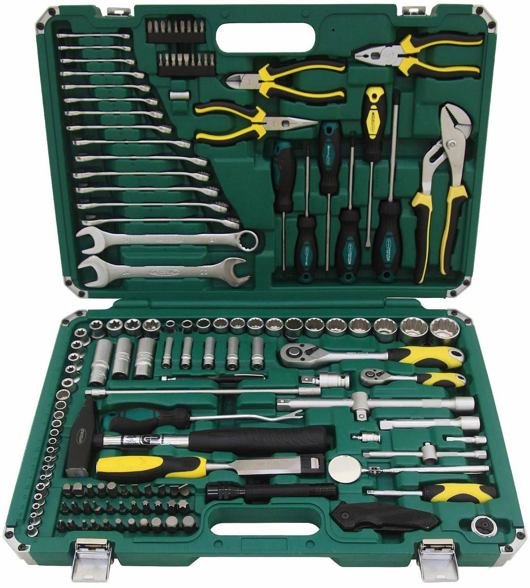 Набор инструментов Арсенал, общефункциональный, 144 предмета8086340Набор инструмента ARSENAL TSM144ABP-WTG (8086340) включает в себя общефункциональные инструменты и инструменты для арматурных работ, используется для ремонта российских автомобилей и содержит 144 предмета. Инструменты Арсенал предназначены для профессионального ремонта в автомастерских.Комплектация:Привод 1/4- Двенадцатигранные головки, 10 штук: 4, 4.5, 5, 5.5, 6, 7, 8, 9, 10, 13 мм- E-головки Torx (звезды), 5 штук: Е4, Е5, Е6, Е7, Е8- Удлиненные двенадцатигранные головки, 5 штук: 8, 10, 11, 12, 13 мм- Удлинители: 50, 150 мм- Гибкий удлинитель 300 мм- Отвертка с присоединительным квадратом- Шаровой шарнир- Трещотка с быстрым сбросом, 72 зуба- Скользящий переходник 1/4(М)х3/8(F)- Трещотка кистевая- Биты: - Шлицевые биты, 5 штук: 3, 4, 5, 6, 7 мм - Биты Phillips, 5 штук: PH.0, PH.1, PH.2, PH.3, PH.4 - Биты Pozidriv, 4 штуки: PZ.1, PZ.2, PZ.3, PZ.4 - Биты Torx, 4 штуки: Т10, Т15, Т20, Т25- Адаптер для бит 1/4 на 1/4Привод 1/2:- Двенадцатигранные головки, 14 штук: 8, 10, 14, 15, 16, 17, 18, 19, 21, 22, 24, 27, 30, 32 мм- E-головки Torx (звезды), 8 штук: Е10, Е11, Е12, Е14, Е16, Е18, Е20, Е22- Удлиненная двенадцатигранная головка 17 мм- Магнитные свечные головки: 16 и 21 мм- Удлинители: 125 и 250 мм- Скользящий переходник 1/2(М)х3/8(F)- Шаровой шарнир- Трещотка с быстрым сбросом, 72 зубаПрочее:- Биты 5/16: - Шлицевые биты, 5 штук: 4, 6,5, 8, 10, 12 мм - Биты Phillips, 3 штуки: PH.2, PH.3, PH.4 - Биты Pozidriv, 2 штуки: PZ.3, PZ.4 - Шестигранные биты Hex, 9 штук: 3, 4, 5, 7, 8, 10, 12, 14, 17 мм - Биты Torx (звезды), 8 штук: Т8, Т10, Т27, Т40, Т45, Т50, Т55, Т60 - Биты Spline, 4 штуки: М8, М10, М12, М14 - Четырехгранные биты, 2 штуки: 8 и 10 мм- Адаптер для бит 5/16 на 1/2- Комбинированные ключи, 15 штук: 6, 7, 8, 9, 10, 11, 12, 13, 14, 15, 16, 17, 18, 19, 21 мм- Ключ рожковый 22х24 мм- Отвертки: - Шлицевая 5,5х125 мм - Крестовые Phillips, 2 штуки: 2х100, 3х150 мм- Torx (звезды), 3 штуки: Т15х100, Т20х100,