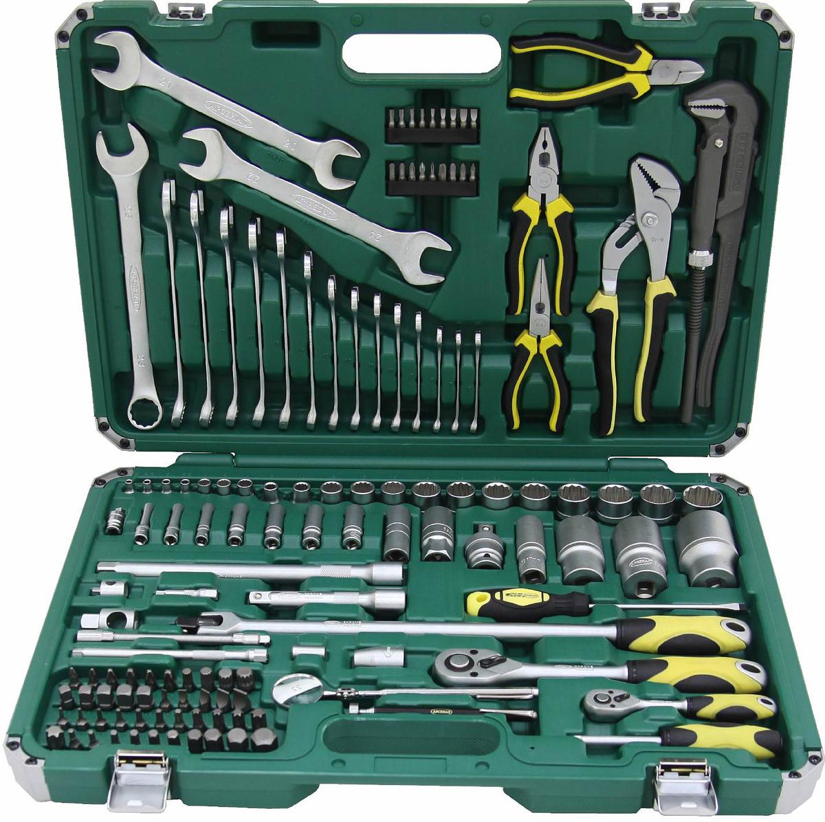 Набор инструментов Арсенал, общефункциональный, 133 предмета8086360Набор инструмента ARSENAL TSM133ABP-WTG (8086360) Американец является общефункциональным, используется для ремонта автомобилей и включает в себя 133 предмета. Инструменты Арсенал предназначены для профессионального ремонта в автомастерских.Комплектация:Привод 1/4- Двенадцатигранные головки, 7 штук: 4, 4.5, 5, 5.5, 8, 9, 10 мм- Удлиненные двенадцатигранные головки, 7 штук: 6, 7, 8, 10, 11, 12, 13 мм- Удлинители: 50 и 150 мм- Отвертка с присоединительным квадратом- Шаровой шарнир- Трещотка с быстрым сбросом, 72 зуба- Скользящий переходник 1/4(М)х3/8(F)- Биты: - Шлицевые биты, 5 штук: 3, 4, 5, 6, 7 мм - Биты Phillips, 5 штук: PH.0, PH.1, PH.2, PH.3, PH.4 - Биты Pozidriv, 4 штуки: PZ.1, PZ.2, PZ.3, PZ.4 - Биты Torx, 4 штуки: Т10, Т15, Т20, Т25Привод 1/2- Шестигранные головки, 2 штуки: 8, 10 мм- Двенадцатигранные головки, 11 штук: 14, 15, 16, 18, 19, 20, 21, 22, 23, 24, 27 мм- Удлиненные двенадцатигранные головки, 4 штуки: 17, 30, 32, 36 мм- Магнитные свечные головки, 2 штуки: 16, 21 мм- Шарнирный вороток: 430 мм- Удлинители: 125 и 250 мм- Скользящий переходник 1/2(М)х3/8(F)- Шаровой шарнир- Трещотка с быстрым сбросом, 72 зубаПрочее:- Биты 5/16 - Шлицевые биты, 5 штук: 8, 10, 12 мм - Биты Phillips, 4 штуки: 8, 10, 12 мм - Биты Pozidriv, 2 штуки: 8, 10, 12 мм - Биты Hex, 11 штук: 3, 4, 5, 6, 7, 8, 10, 12, 14, 17 мм - Биты Torx, 12 штук: Т8, Т10, Т15, Т20, Т25, Т27, Т30, Т40, Т45, Т50, Т55, Т60 - Биты Spline, 4 штуки: М8, М10, М12, М14 - Четырехгранные биты 3/8, 4 штуки: 8, 9, 10, 11 мм- Адаптер для бит 5/16 на 1/2- Адаптер для бит 1/4 на 1/4- Клещи переставные (гебельсы): 9 (225 мм)- Пассатижи: 6 (150 мм)- Длинногубцы: 6 (150 мм)- Бокорезы: 6 (150 мм)- Разводной газовый ключ: 12 (300 мм)- Инспекционное зеркало- Магнит с телескопической ручкой- Комбинированные ключи, 15 штук: 6, 7, 8, 9, 10, 11, 12, 13, 14, 15, 16, 17, 18, 19, 23 мм- Рожковые ключи, 2 штуки: 20х21, 22х24 мм