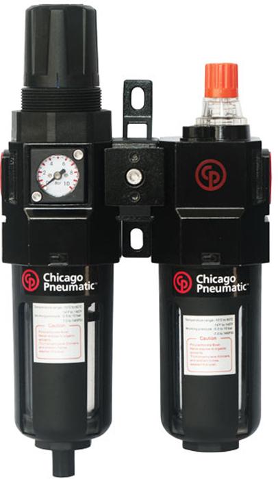 Блок подготовки воздуха Chicago Pneumatic, 1/4, композитный8940171927Композитный блок подготовки воздуха Chicago Pneumatic - это необходимый аксессуар для беспроблемной работы пневматического инструмента. Блок включает в себя регулятор давления, фильтр-отстойник для конденсата и лубрикатор. Фильтр-отстойник предназначен для удаления жидких и твердых примесей из воздушной магистрали компрессора. Регулятор давления воздуха регулирует и последовательно подает давление, которое требуется для работы подсоединенного пневмоинструмента. При помощи лубрикатора в инструмент подается оптимальное количество масла, что позволяет снизить амортизацию и продлить срок службы инструмента.Особенности:- полуавтоматический сброс конденсата;- съемные прозрачные колбы;- кронштейн для настенного крепления;- возможность двусторонней установки манометра.