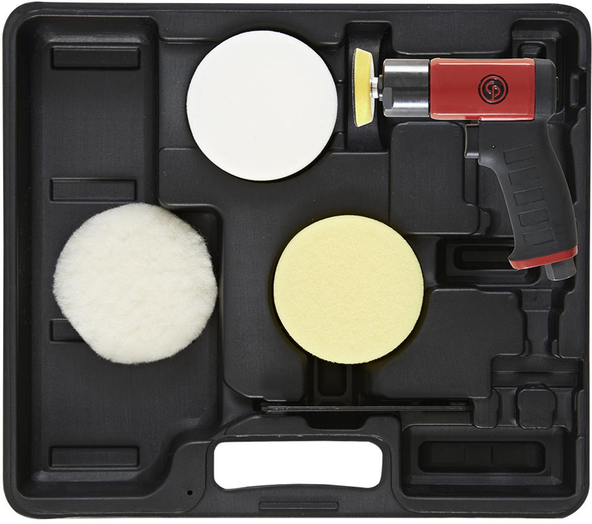 Набор для полировки Chicago Pneumatic CP7201P8941172014Миниатюрная дисковая полировальная машина с подошвой 3 (75 мм) типа Липучка.Характеристики:- Мощный, стойкий к износу - Резиновый формованный пистолетный захват - Настраиваемый регулятор скорости вращения- Прогрессивный курок- Тихий выхлоп в рукоятке. Комплектация: полировальная машина CP7201 с опорной подошвой 3, вспененные подошвы 3,5 (белая/желтая), шерстяная чистящая подошва 3,5.Размер наждачной бумаги 75 мм 3Скорость холостого хода 2500 об\минРезьба шпинделя 1/4-20 UNC Вес нетто 1.9 кгФактический расход воздуха 8.5 л/сМинимальный диаметр шланга 10 ммДиаметр впускного отверстия 0,25.