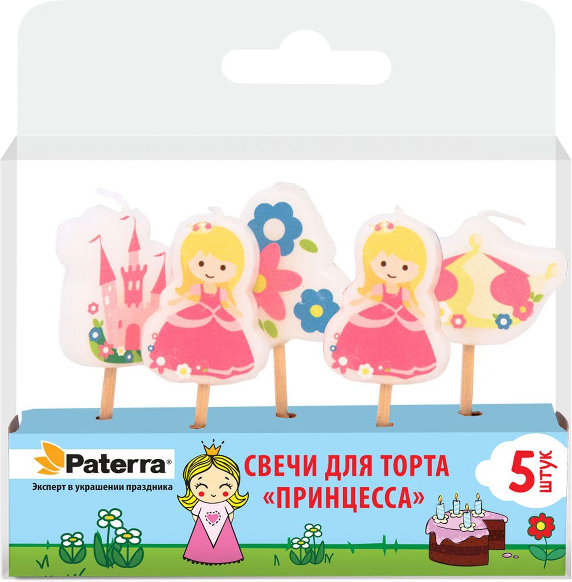 Свечи для торта Paterra Принцесса, высота 11,5 см, 5 шт