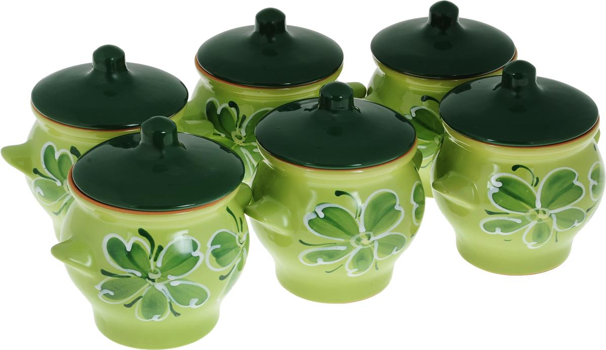 Набор горшочков для запекания Борисовская керамика Стандарт, с крышками, цвет: зеленый
