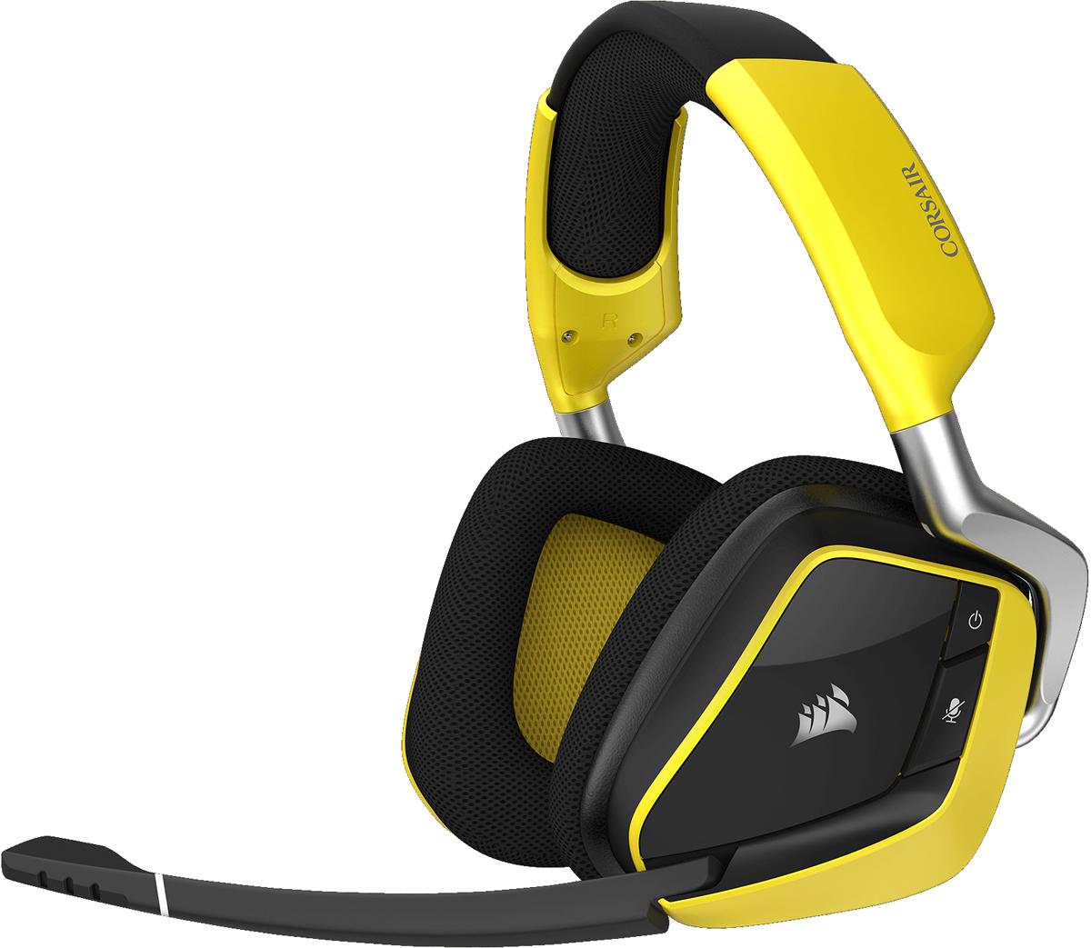 Corsair Gaming Void Pro RGB Wireless SE, Yellow игровая гарнитураCA-9011150-EUВысококлассная игровая гарнитура Corsair Void Pro RGB Wireless SE с поддержкой Dolby Headphone 7.1. Комфорт на весь день. Потрясающий звук. Гарнитура Corsair Void Pro RGB Wireless SE, отличающаяся исключительным удобством, великолепным воспроизведением звука и легендарной надежностью Corsair, создает невероятную атмосферу игрового процесса. Максимальный комфорт. Высококачественная сборка премиум-класса. Дышащая сетчатая ткань из микрофибры и подушка из пеноматериала с эффектом памяти обеспечивают исключительный комфорт, уменьшая накопление тепла и влаги. Легендарное качество сборки Corsair гарантирует долговременную надежность. Четкий звук для игр Неодимовые 50-миллиметровые динамики с возможностью индивидуальной настройки максимально реалистично передают звук благодаря широкому диапазону частот и точности воспроизведения. Технология объемного звука Genuine Dolby Headphone 7.1 обеспечивает захватывающее многоканальное пространственное звучание, переносящее вас в центр событий. Превосходные характеристики беспроводной работы Низкий уровень задержки, беспроводная передача звука с частотой 2,4 ГГц, улучшенный радиус действия до 12 м и время работы от аккумулятора до 16 часов. Модернизированная конструкция антенны увеличивает зону действия и обеспечивает лучшие характеристики даже в самых сложных условиях. Кристально чистая передача звука через микрофон Абсолютно новый однонаправленный микрофон с шумоподавлением и светодиодным индикатором отключения звука уменьшает окружающий шум для улучшения качества звучания голоса. Микрофон и динамики Void Pro прошли испытания и оценку, чтобы обеспечить идеальное качество связи и первоклассный звук. Управление подсветкой RGB Настраиваемая динамическая подсветка RGB позволяет создавать практически безграничные варианты цветовых комбинаций. Эксклюзивная базовая станция Игровая гарнитура Void Wireless SE содержит удобную приемную док-станцию, которая поможет 