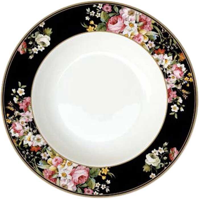 Тарелка суповая Nuova R2S Цветочный карнавал, цвет: черный, диаметр 23 см. R2S1360/BLOB-AL r2s