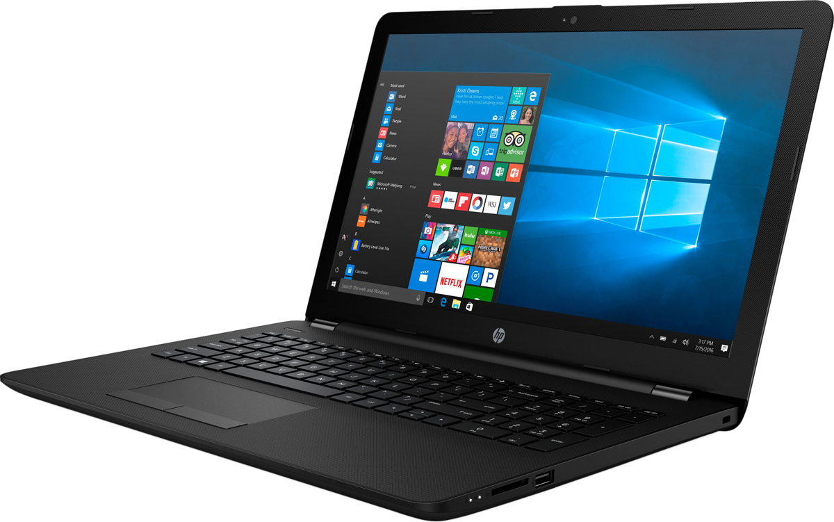 HP 15-bs015ur, Jet Black (1ZJ81EA)490119Стильный ноутбук HP 15-bs015ur, помимо выполнения повседневных задач, поможет вам оставаться на связи весь день. Благодаря неизменно высокой производительности и длительному времени работы от аккумулятора вы можете с комфортом пользоваться Интернетом, вести потоковое вещание и оставаться на связи с нужными людьми.Новейшие процессоры Intel обеспечивают неизменно высокую производительность, которая необходима для работы и развлечений. Надежность и долговечность ноутбука позволят легко выполнять все необходимые задачи.Развлекайтесь и оставайтесь на связи с друзьями и семьей благодаря превосходному дисплею HD (или Full HD в некоторых моделях) и камере HD в некоторых моделях. Кроме того, с этим ноутбуком ваши любимые музыка, фильмы и фотографии будут всегда с вами.Продуманная конструкция и замечательный дизайн этого ноутбука HP с дисплеем диагональю 39,6 см (15,6) идеально подойдут для вашего образа жизни. Изящное оформление, оригинальное покрытие и хромированное шарнирное крепление (на некоторых моделях) добавят немного цвета в будни.Полноразмерная клавиатура островного типа с цифровой клавишной панелью.Сенсорная панель с поддержкой технологии Multi-Touch.Точные характеристики зависят от модификации.Ноутбук сертифицирован EAC и имеет русифицированную клавиатуру и Руководство пользователя