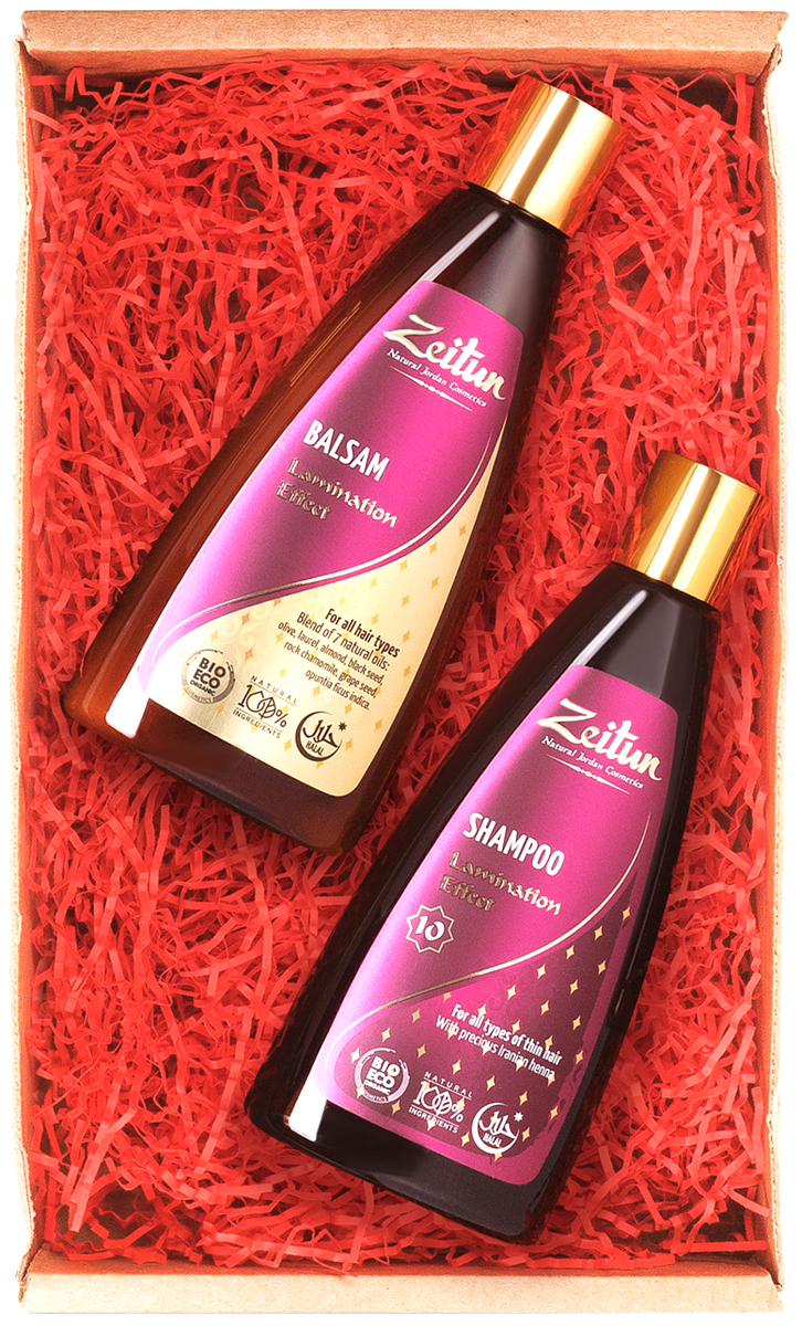 Праздничный набор Эффект ламинирования Шампунь и БальзамZ4545Плотные, блестящие, шелковистые волосы - лучшее украшение к новогодним праздникам! Набор для сияния и объема волос Zeitun Эффект ламинирования состоит из двух легендарных продуктов - Шампуня Zeitun №10 и Бальзама Zeitun с 7 ценными растительными маслами, которые делают эффект от ежедневного ухода достойным настоящей салонной процедуры. Шампунь с мягкими, безопасными ПАВ из мякоти кокоса великолепно очищает и освежает, а пахнущий луговыми цветами бальзам мгновенно смягчает и увлажняет локоны. Оба средства содержат уникальный набор природных компонентов, придающих структуре волоса максимальную однородность, блеск и объем (хна, масло опунции, репейное, оливковое и конопляное масла). Подарочный набор оформлен красивой крафтовой коробкой с ярким новогодним наполнителем внутри: такой подарок станет беспроигрышным вариантом для любого человека, порадует ваших близких, друзей и коллег!