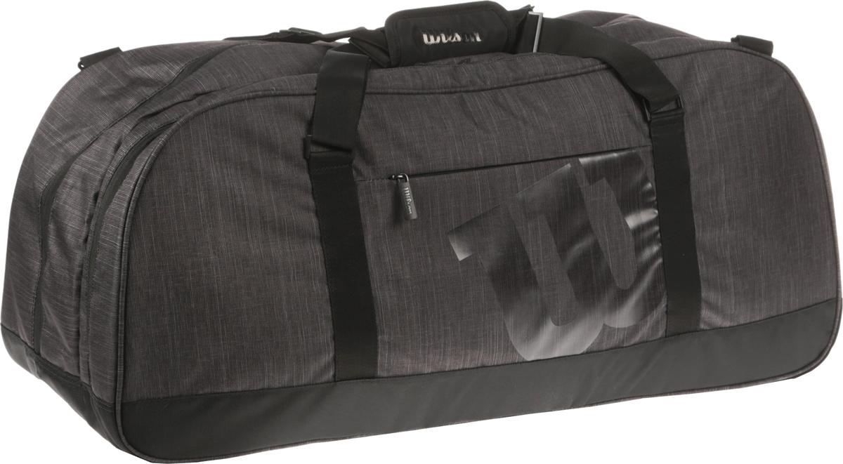 Сумка Agency Duffel Large Bk, цвет: серыйWRZ852793Вместительная сумка для перевозки большого количества личных вещей. В сумкехватит места для обуви, одежды и многих аксессуаров, необходимых в большомтеннисе. Универсальная форма и конструкцияделает ее пригодной не только дляспортивного инвентаря, но и для повседневной жизни. Помимо внутренних отделений есть большой накладной карман сверху, боковойкарман на молнии сбоку. Переноску облегчает плечевой ремень с мягкимивставками на карабинах, сдвоенная центральная ручка.