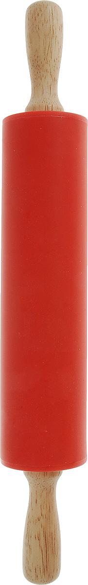 Скалка Доляна Валенсия, цвет: красный, 30 х 4 см851318_красныйСкалка Доляна Валенсия - необходимый на кухне предмет. Изделие из силикона представляет собой усовершенствованную версию привычного инструмента. Яркий дизайн делает предмет украшением арсенала каждого повара. Готовку облегчают удобные ручки.