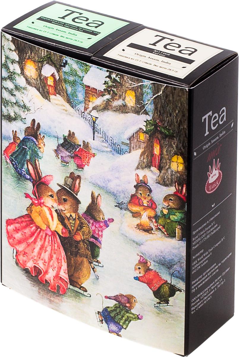 Подарочный набор Royal T-Stick: Earl Grey черный чай и Mint Green Tea зеленый чай, в стиках, 30 шт. 2018101 greenfield royal earl grey черный листовой чай 250 г