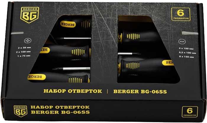 Набор инструментов Berger, 6 предметов. BG-06SSBG-06SSТип стали AISI 8660 (Никель-хром-молибденовая сталь,) Твердость 58HRC ?SL4 x 100mmL, ?SL6.5 x 100mmL , ?SL8 x 150mmL, PH2 x 38mmL, PH2 x 100mmL, PH1 x 75mmLХром-Молибден Вязкая, износостойкая сталь, повышенное сопротивление к кручению, за счет чего увеличивается ресурс стержня отвертки.