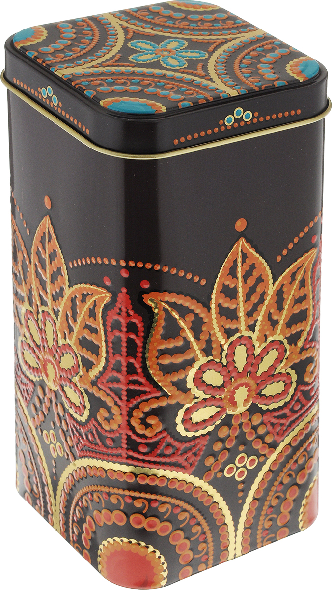 Банка для сыпучих продуктов Рязанская фабрика жестяной упаковки Индийские узоры, цвет: коричневый, красный, 1,4 л1669555_коричневый, красный