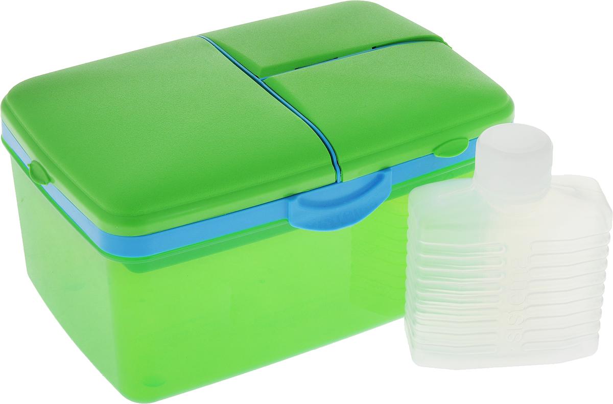 Ланч-бокс Sistema To-Go, 4 секции, с бутылкой, цвет: зеленый, голубой, 2 л3970С6_зеленый/голубойЛанч-бокс Sistema To-Go имеет 4 отделения для хранения и транспортировки бутербродов, порционных салатов, мяса или рыбы, горячих и холодных блюд. Ланч-бокс для детей и взрослых позволяет взять даже сложный обед, из нескольких блюд, в одном компактном контейнере. Контейнер надежно закрывается клипсами. Удобная маленькая бутылка позволит взять с собой воду или любимый напиток. Ланч-бокс состоит из большого, среднего и двух маленьких отделений.