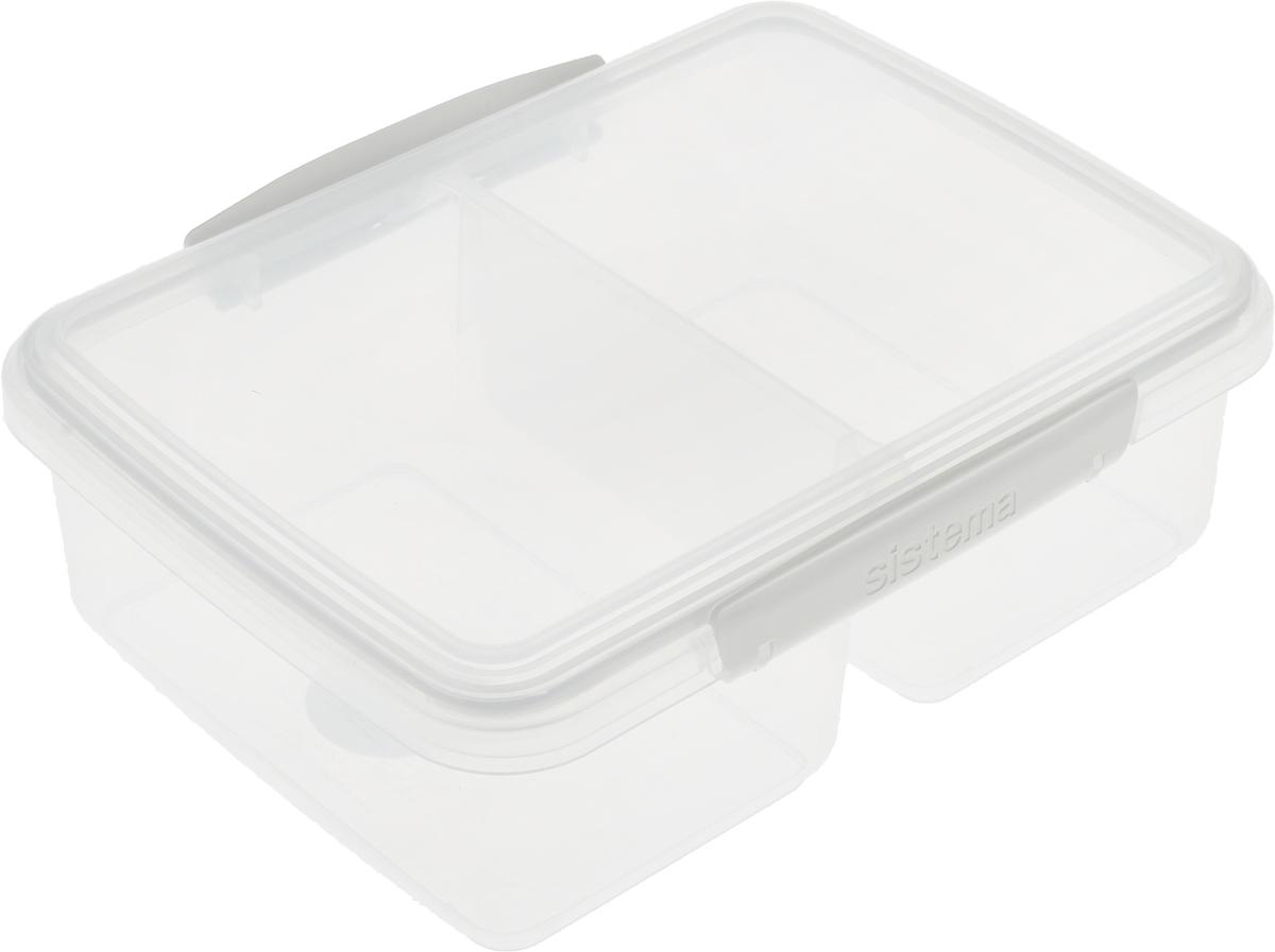 Контейнер пищевой Sistema Klip It, двойной, цвет: белый, 2л. 6172061720_белыйКонтейнер пищевой Sistema Klip It, двойной, цвет: белый, 2л. 61720