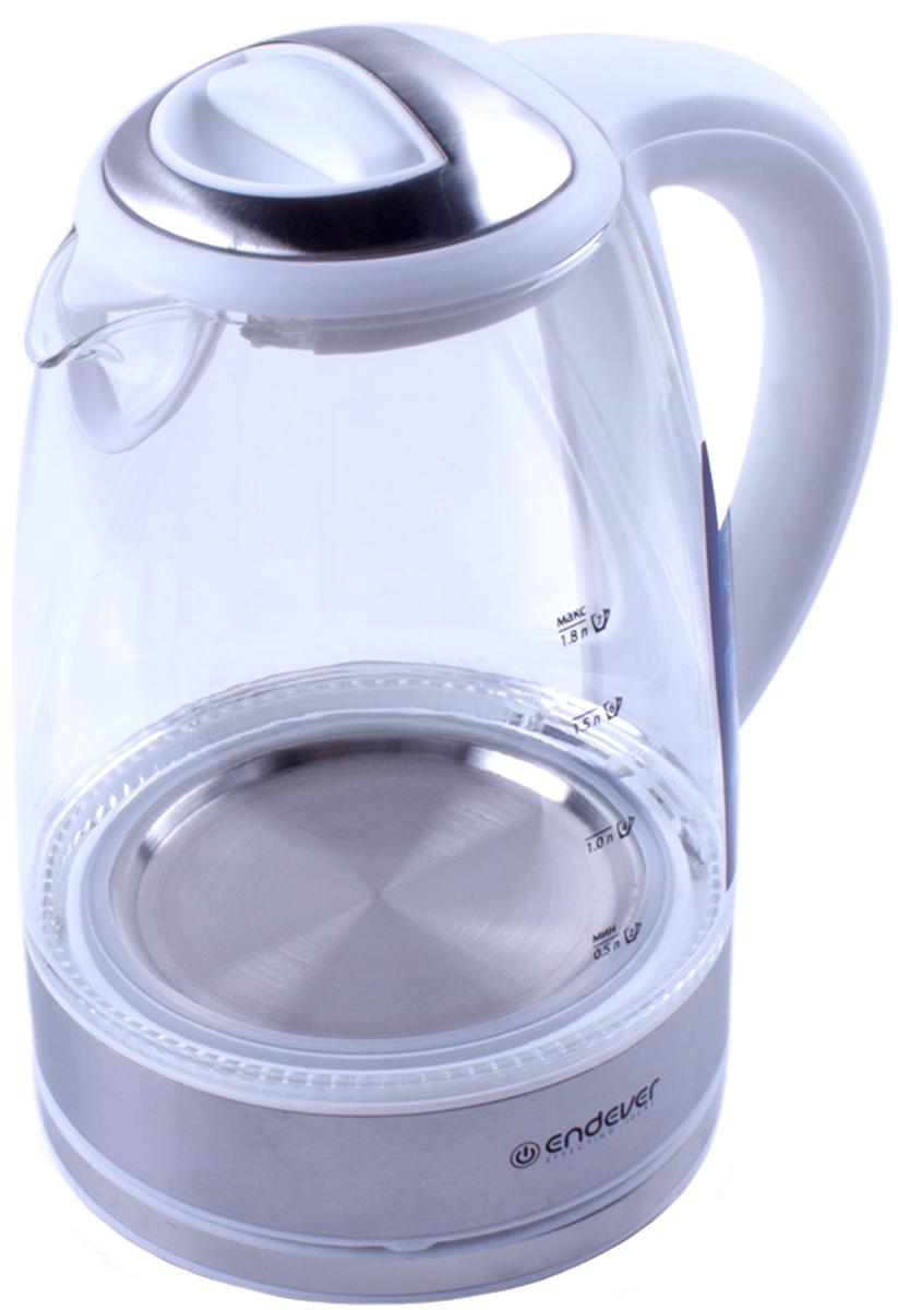 Endever KR-300G, White электрический чайникKR-300GЭлектрический чайник Endever KR-300G прост в управлении и долговечен в использовании. Изготовлен из высококачественных материалов. Мощность 2400 Вт позволит вскипятить 1,8 литра воды в считанные минуты. Беспроводное соединение позволяет вращать чайник на подставке на 360°. Для обеспечения безопасности при повседневном использовании предусмотрены функция автовыключения, а также защита от включения при отсутствии воды.
