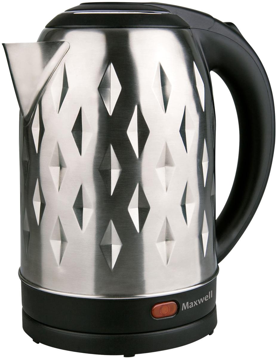 Maxwell MW-1084(ST), Gray Metallic электрический чайникMW-1084(ST)Электрический чайник Maxwell MW-1084(ST) прост в управлении и долговечен в использовании. Корпус чайника изготовлен из нержавеющей стали. Мощность 2200 Вт вскипятит 1,8 литра воды в считанные минуты. Беспроводное соединение позволяет вращать чайник на подставке на 360°. Для обеспечения безопасности при повседневном использовании предусмотрены функция автовыключения, а также защита от включения при отсутствии воды.