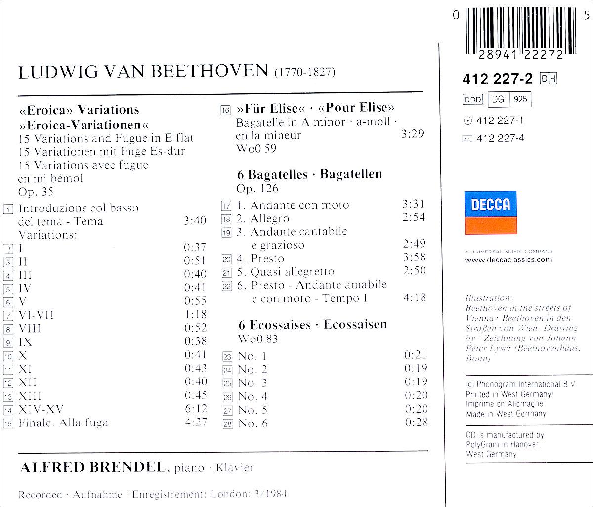 Alfred Brendel.  Beethoven:  Fur Elise; Eroica Variations, Op. 35 Decca