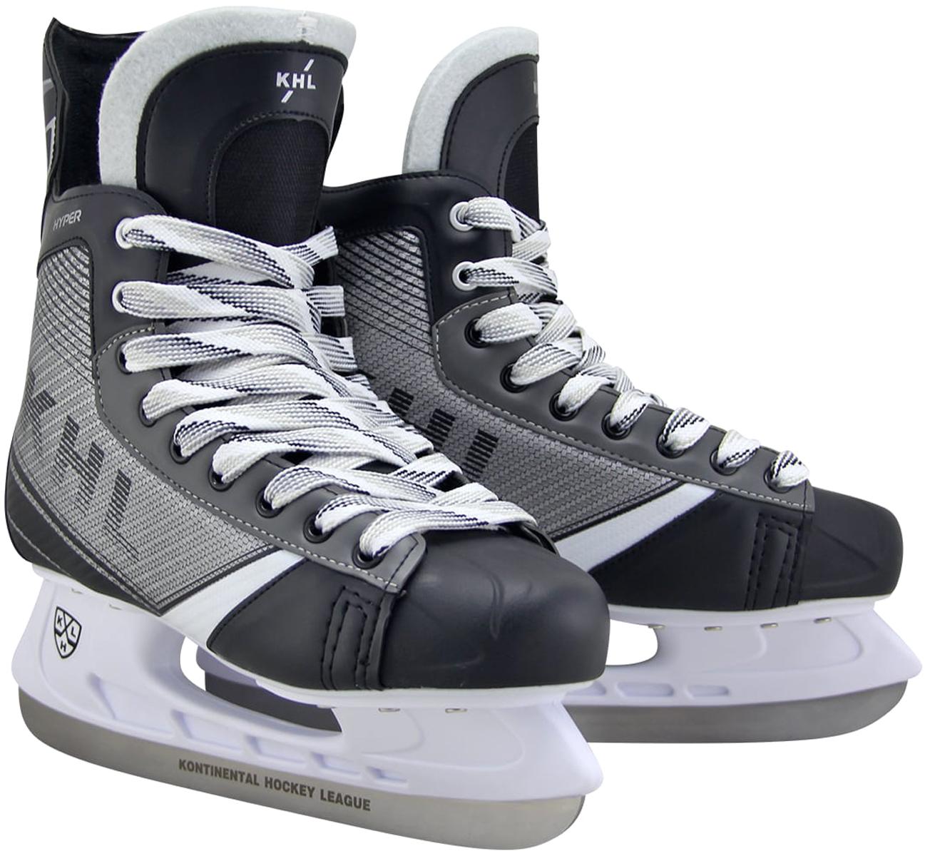 Коньки хоккейные мужские KHL Hyper, цвет: серый, черный, белый. Размер 46УТ-00010445Хоккейные коньки KHL Hyper являются официальной лицензионной продукцией Континентальной Хоккейной Лиги (КХЛ). Это прекрасная любительская модель коньков с уникальным стильным ассиметричным дизайном, выполненным в новой стилистической концепции КХЛ. Модель выполнена из износостойких материалов, устойчивых к порезам. Усиленная жесткость ботинка для более уверенного катания. Дополнительные вставки из EVA и MEMORY foam обеспечат комфорт. Лезвие выполнено из высокоуглеродистой стали с покрытием из никеля. Шнуровка надежно зафиксирует модель на ноге.Коньки подходят для использования на открытом и закрытом льду.