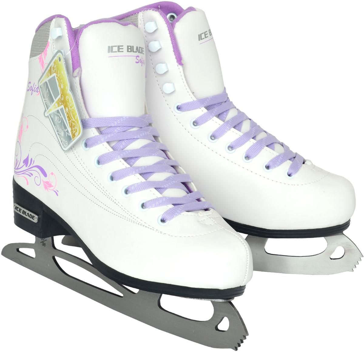 Коньки фигурные женские Ice Blade Sofia, цвет: белый, сиреневый. Размер 35 пластина ada ice blade 150 1000мм