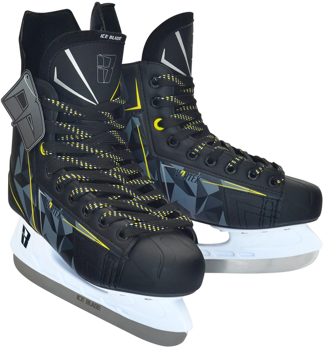 Коньки хоккейные мужские Ice Blade Vortex, цвет: серый, желтый, белый. Размер 46УТ-00010444Хоккейные коньки Ice Blade Vortex являются официальной лицензионной продукцией Континентальной Хоккейной Лиги (КХЛ). Это прекрасная любительская модель коньков с уникальным стильным ассиметричным дизайном, выполненным в новой стилистической концепции КХЛ. Модель выполнена из износостойких материалов, устойчивых к порезам. Усиленная жесткость ботинка для более уверенного катания. Дополнительные вставки из EVA и MEMORY foam обеспечат комфорт. Лезвие выполнено из высокоуглеродистой стали с покрытием из никеля. Шнуровка надежно зафиксирует модель на ноге.Коньки подходят для использования на открытом и закрытом льду.
