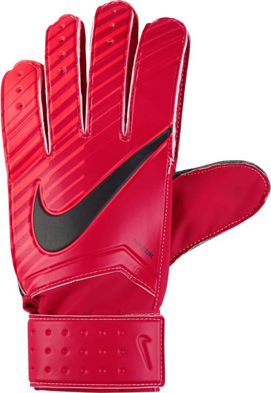 Перчатки вратарские Nike Match Goalkeeper, цвет: красный. GS0344-657. Размер 7GS0344-657Вратарские перчатки Nike Match Goalkeeper смягчают нагрузку от удара мяча и обеспечивают оптимальный захват и контроль мяча в любых погодных условиях. Пеноматериал на основе латекса обеспечивает превосходное сцепление в любых условиях. Манжета с застежкой на липучке для регулируемой посадки. Перфорация в области пальцев усиливает вентиляцию.